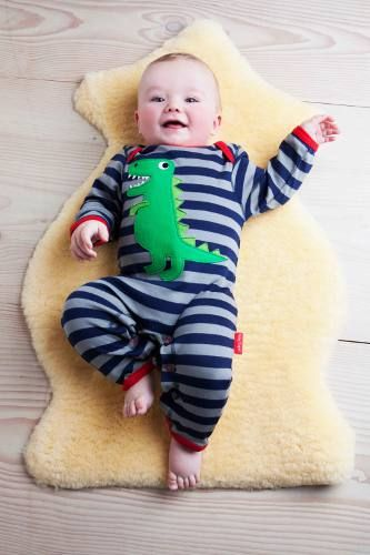 Toby Tiger super soft organic cotton sleepsuit now in at LAFF Kids Clothes.  T-Rex appliqué in sizes 0-3m,3-6m and 6-12m.  laffkidsclothes.co.uk