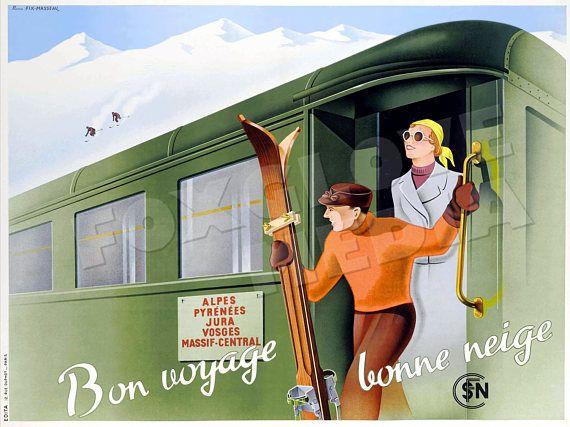 bon voyage bonne neige french travel poster print winter sports