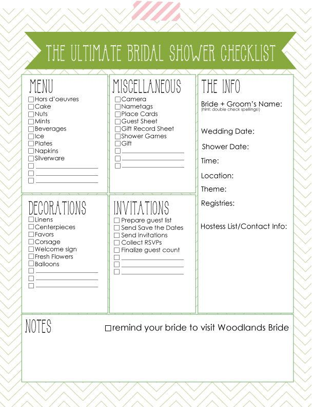 Oh One Fine Day ULTIMATE BRIDAL SHOWER CHECKLIST Baby Shower - printable wedding guest list template