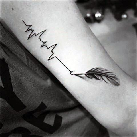 50 Heartbeat tattoo designs for men - ideas for electronic impulse inks -  Mens forearm heartbeat and gray quilled feather tattoo  - #ankletattoo #cooltattoo #Designs #dogtattoo #electronic #feathertattoo #Heartbeat #Ideas #impulse #inks #Men #tattoo