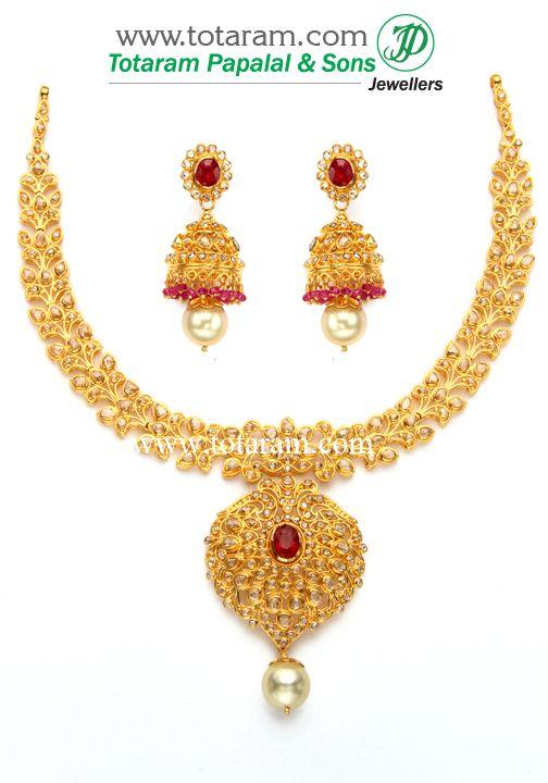 22K Gold Necklace Ear Hangings Set with Uncut Diamonds Ornaments