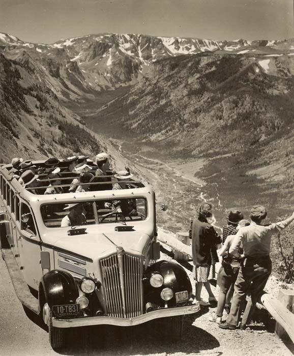 Yellowstone Bus on Beartooth Highway circa 1938. These gorgeous buses still run through Yellowstone today.