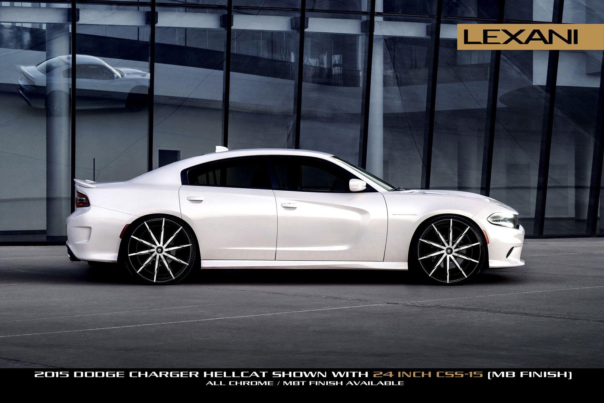 24 Lexani Wheels Css 15 Suv In Gloss Black Machined On A 2015 Dodge Charger Hellcat 2015 Dodge Charger Hellcat Dodge Charger Hellcat Custom Wheels And Tires