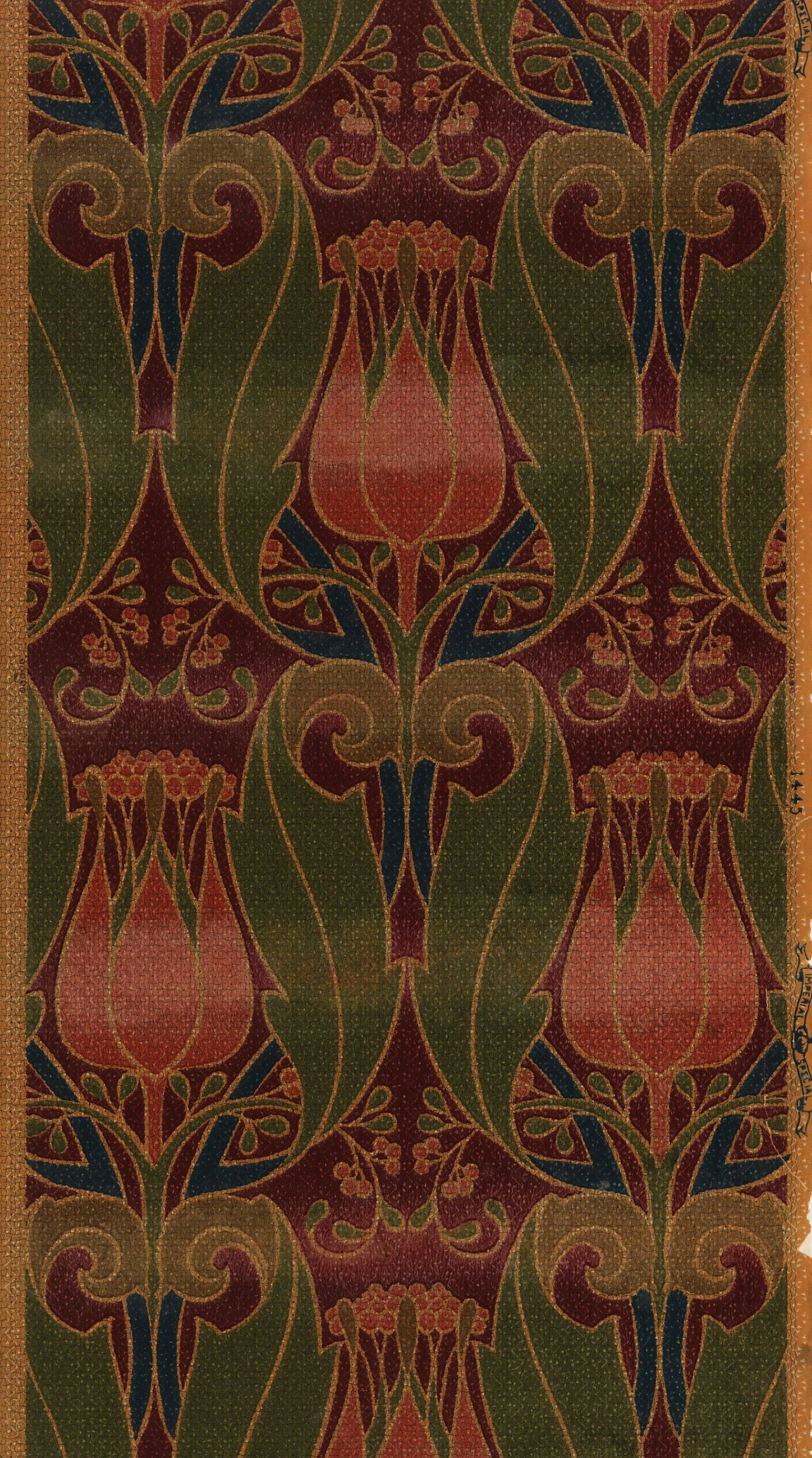 Art Nouveau wallpaper featuring tulips and foliate scrolls. Machine printed by Imperial Wallcoverings, 1900-10 | More Than 6,000 Wallpaper Designs Digitized, December 31, 2014