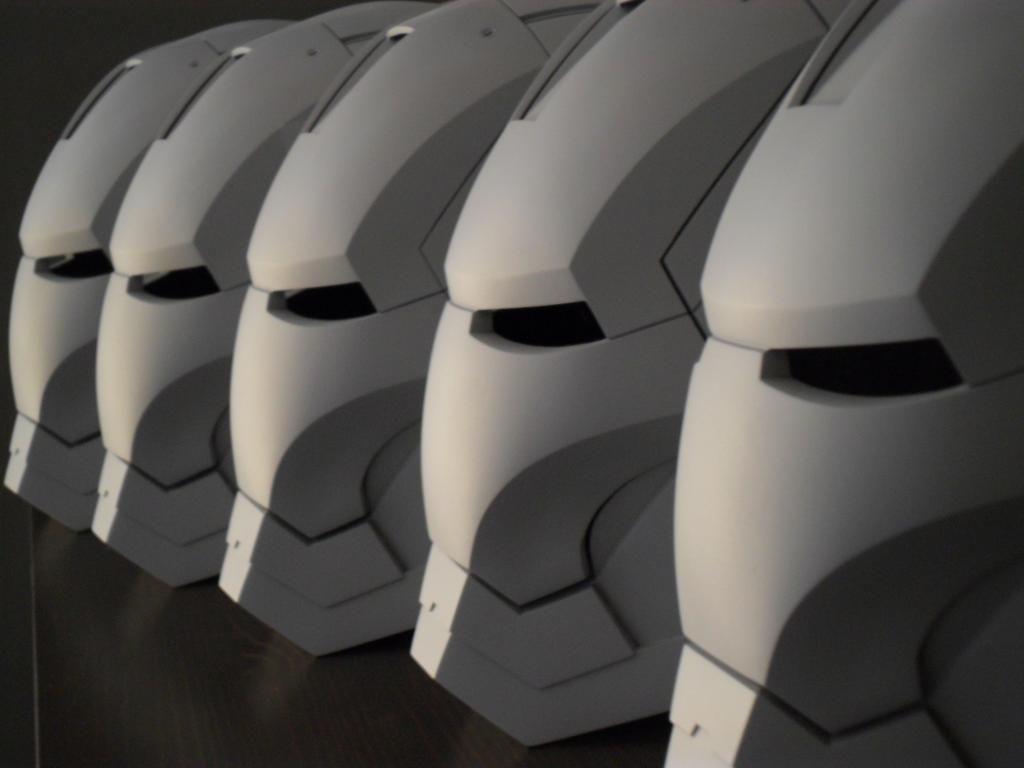 assembly line. IRON MAN helmets