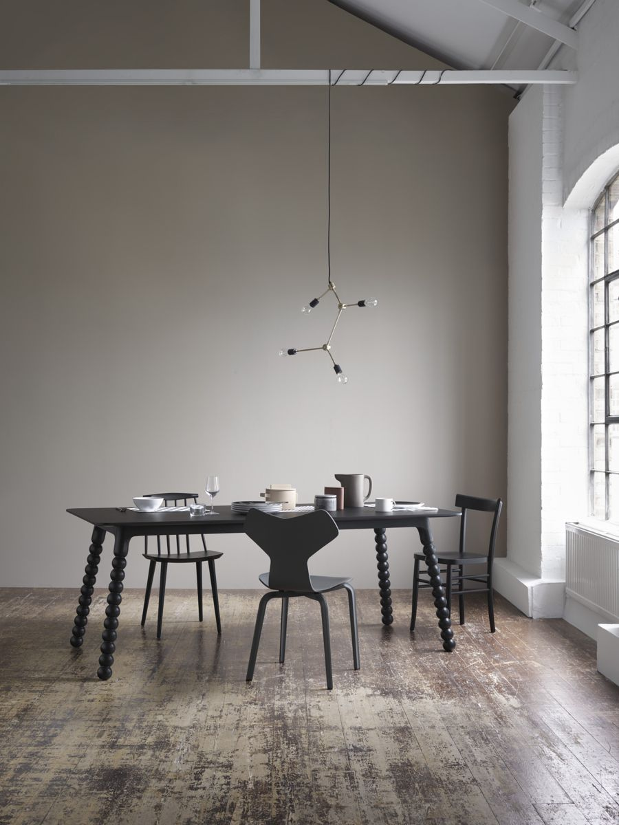Designer Dining Room Furniture: Modern Dining Room, Lack Table And Chairs, Warm Grey Wall
