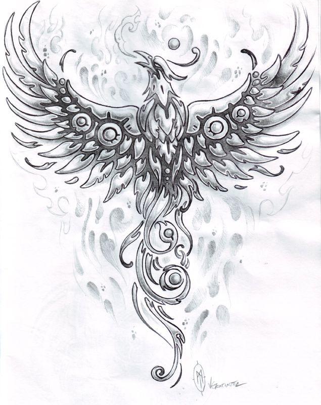 феникс рисунки для тату фото комната кремовых