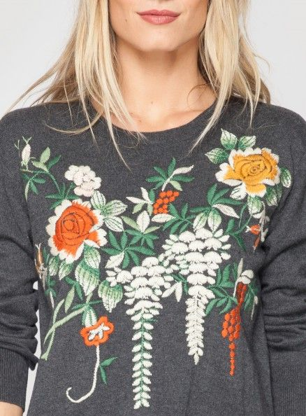 Pullover Embroidered Sweater | Embroidery, Embroidered ...