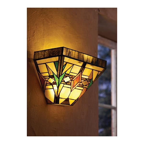 Art Glass Wall Lights: Mission Art Glass Wall Sconce In Stained Glass Battery