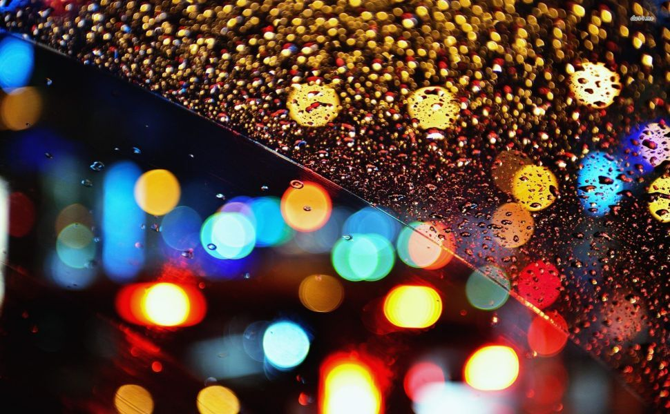 Multicolored Lights Behind The Rainy Window HD Wallpaper