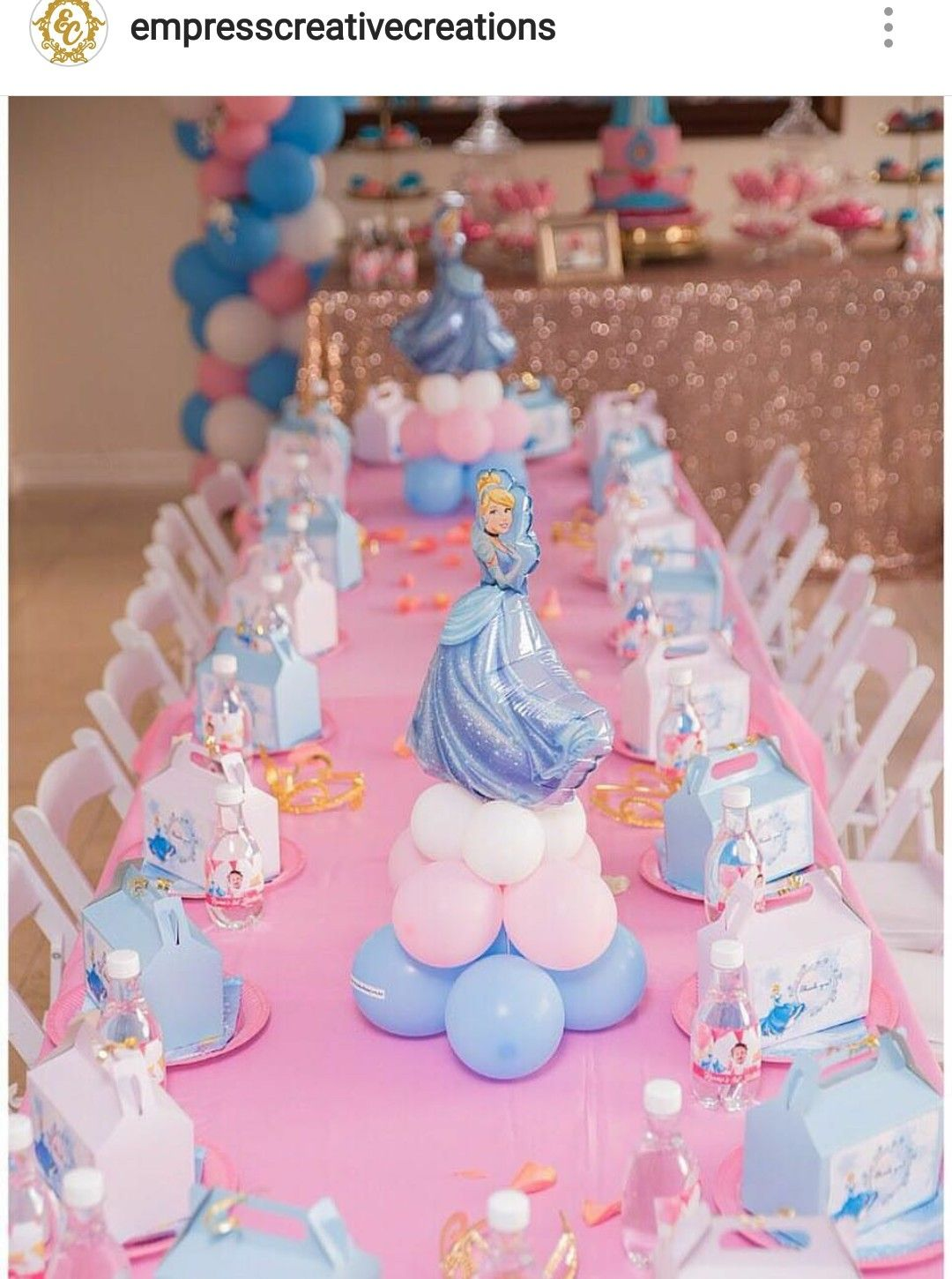 Cinderalla Inspired Birthday Party Table Setting and Decor ...