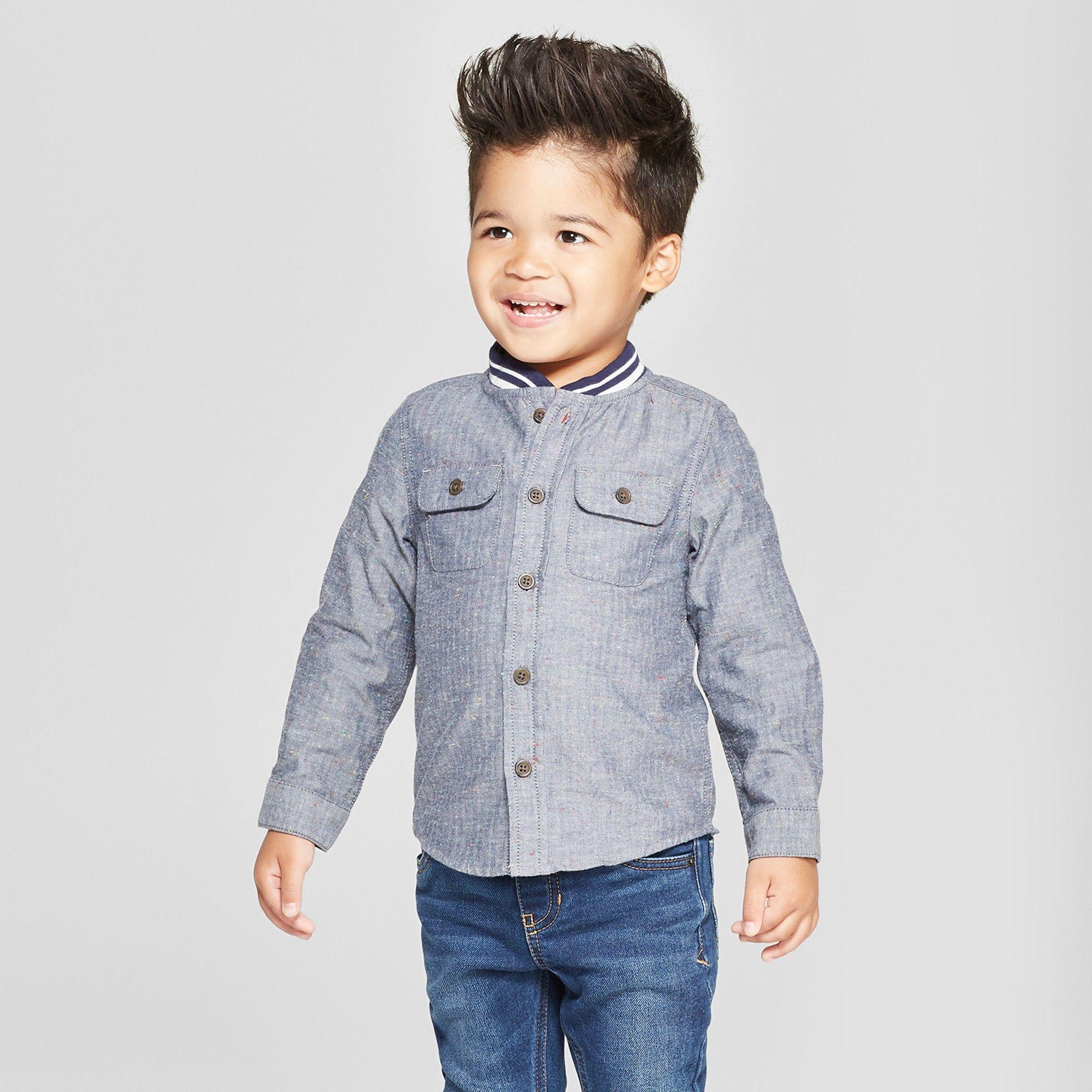 Toddler Boys' Long Sleeve Rib Knit Collar Button Down Shirt