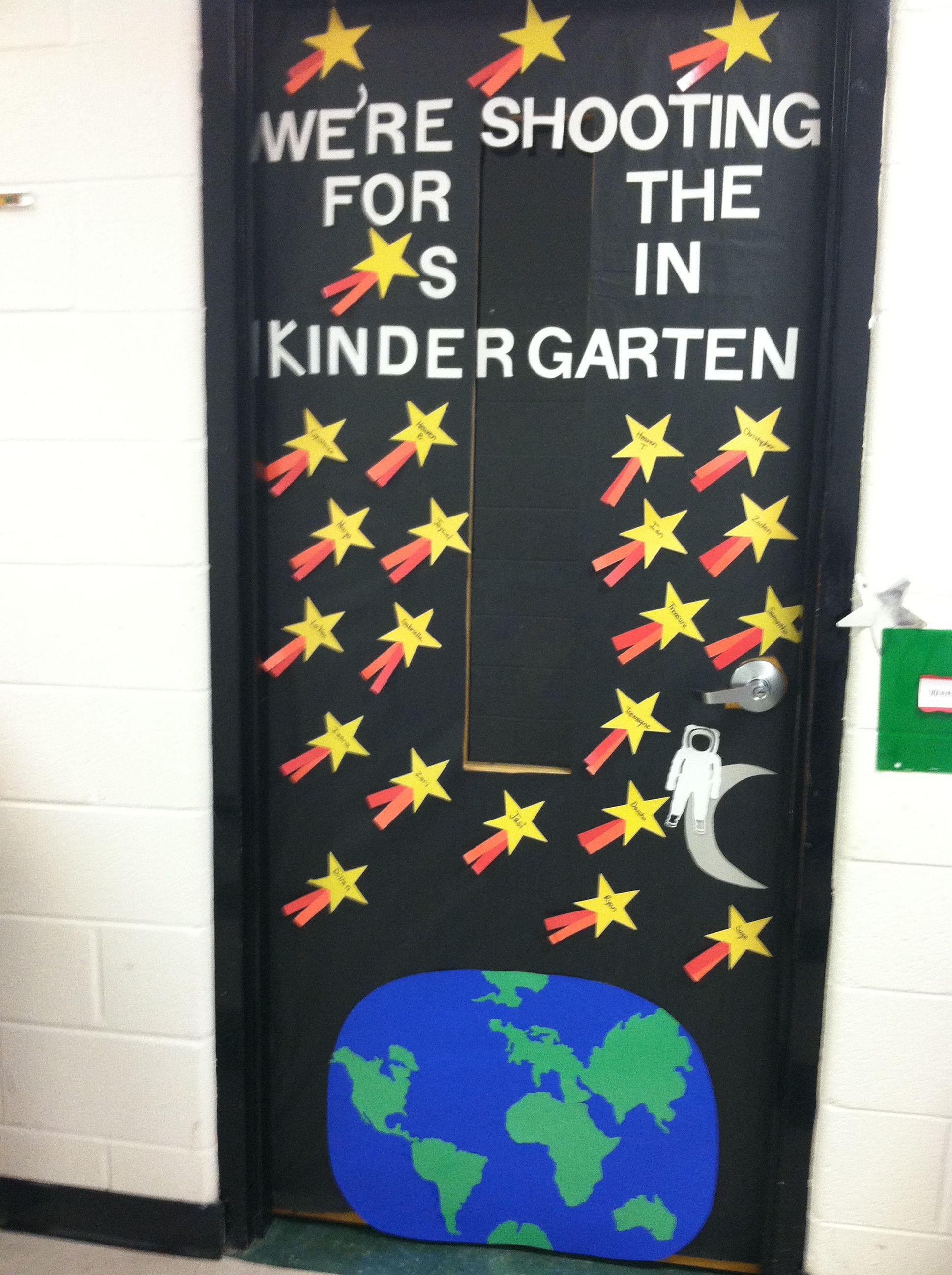 First Day Of School Classroom Door With Outer Space Galaxy Theme For Kindergarten