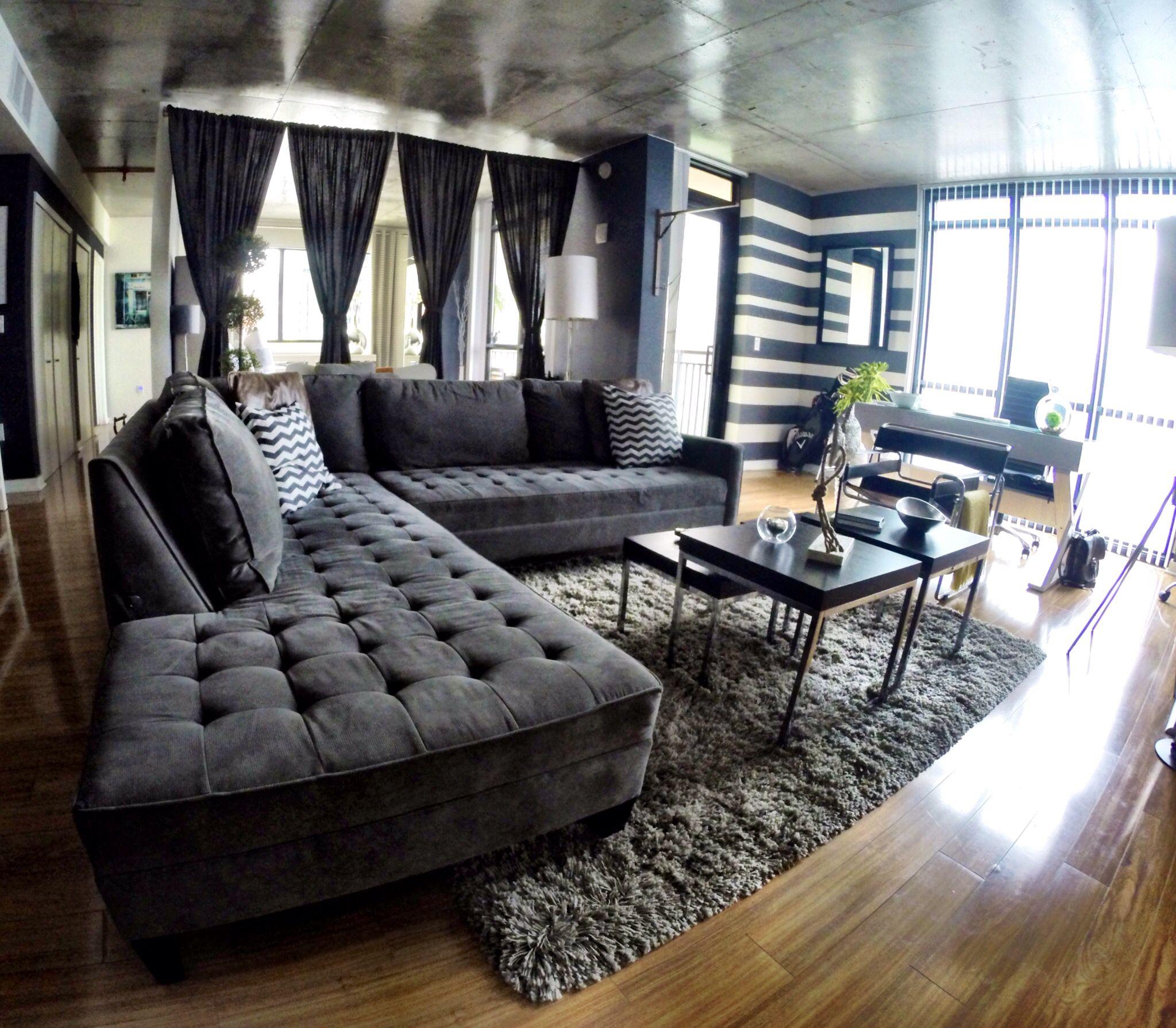 "Loft Style Living. ZGallerie's ""Vapor Sectional"" and ""Jet"