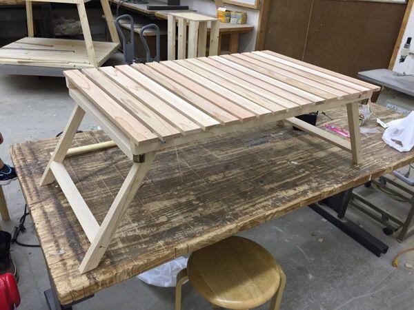 キャンプ用 木製ローテーブル 自作 アウトドア テーブル 自作 ローテーブル ロールトップテーブル
