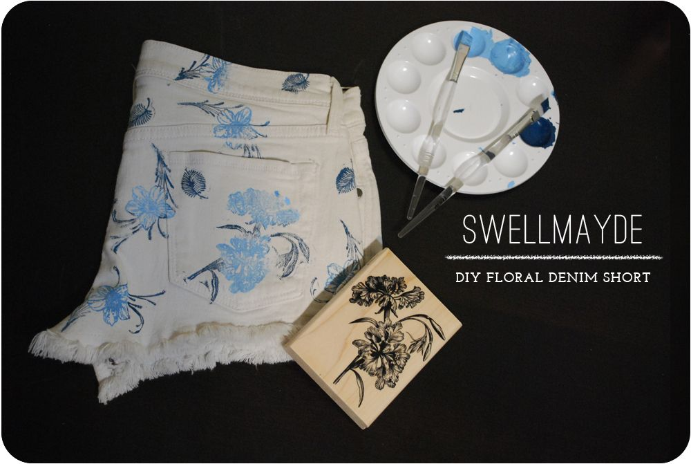 How to make your own floral shorts using fabric paint, rubber stamps, and paint brushes. You could use any color combination and print/pattern!