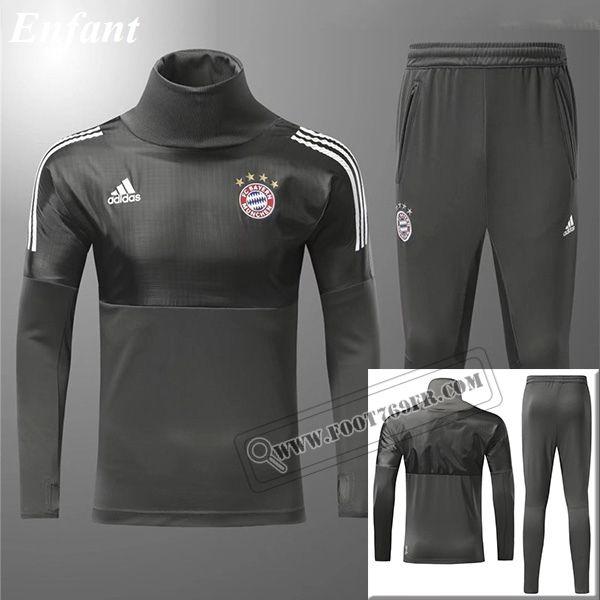0f3a42b6656 Ensemble Nouveau Survetement De Bayern Munich Champions League Enfant Col  Haut Gris Fonce Vintage 2017 2018