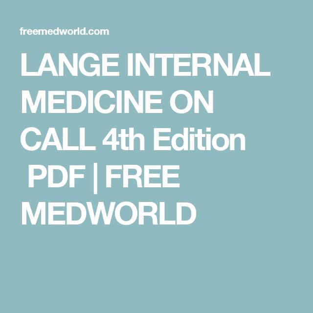 Lange Internal Medicine On Call 4th Edition Pdf Free Medworld