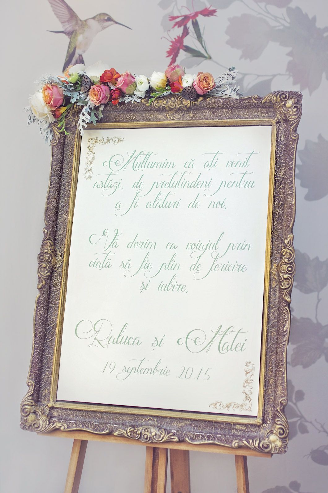 Welcome wedding sign with beautiful flower arrangement and gold welcome wedding sign with beautiful flower arrangement and gold frame junglespirit Image collections