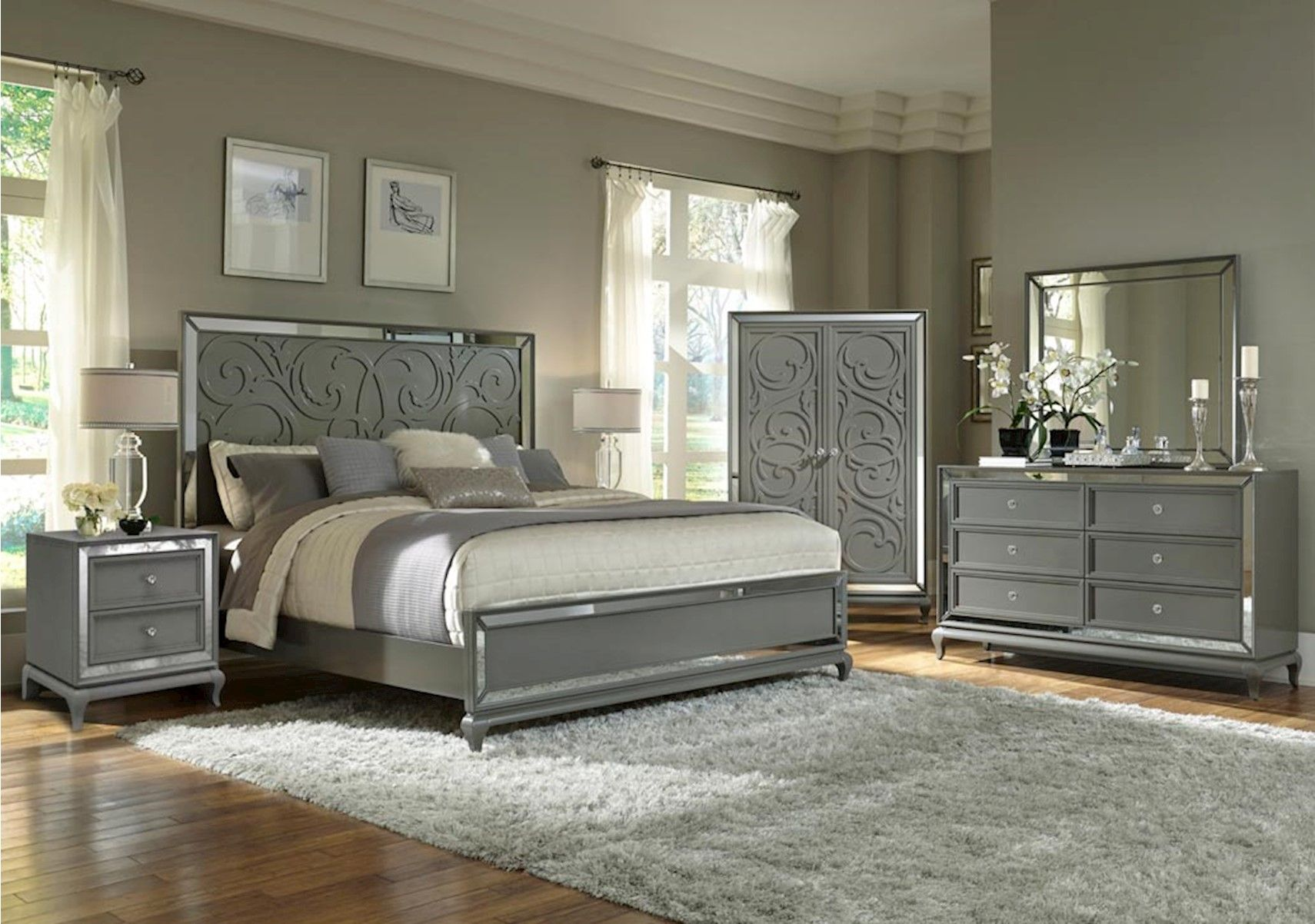 Uptown 4 Pc Queen Bedroom Set Contemporary Style Home