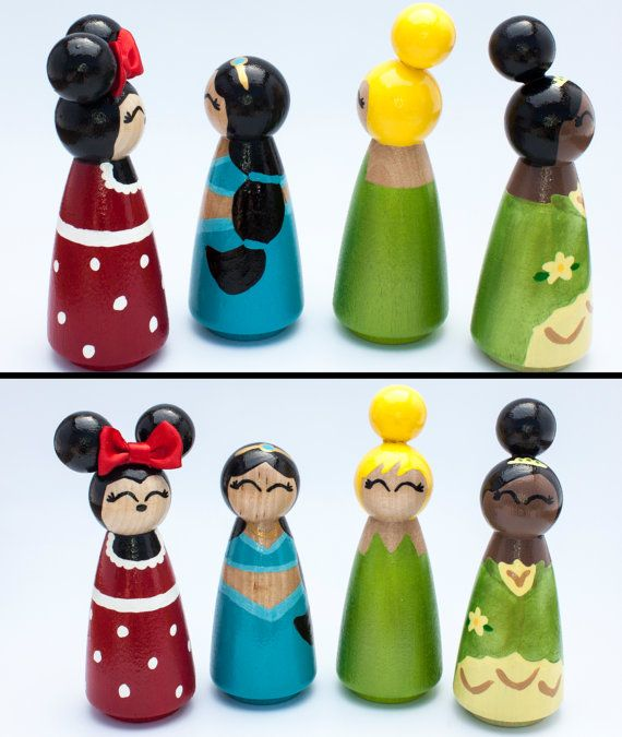 Set of 4 Disney Inspired princess peg dolls you by RylieRene