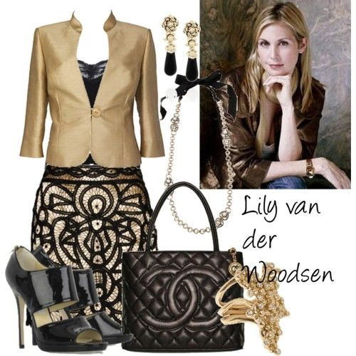 LACE SKIRT AND GOLD JACKET