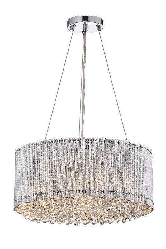 Anakin 4 Light Unique Statement Drum Pendant With Crystal Accents In 2021 Glam Lighting Drum Shade Drum Chandelier