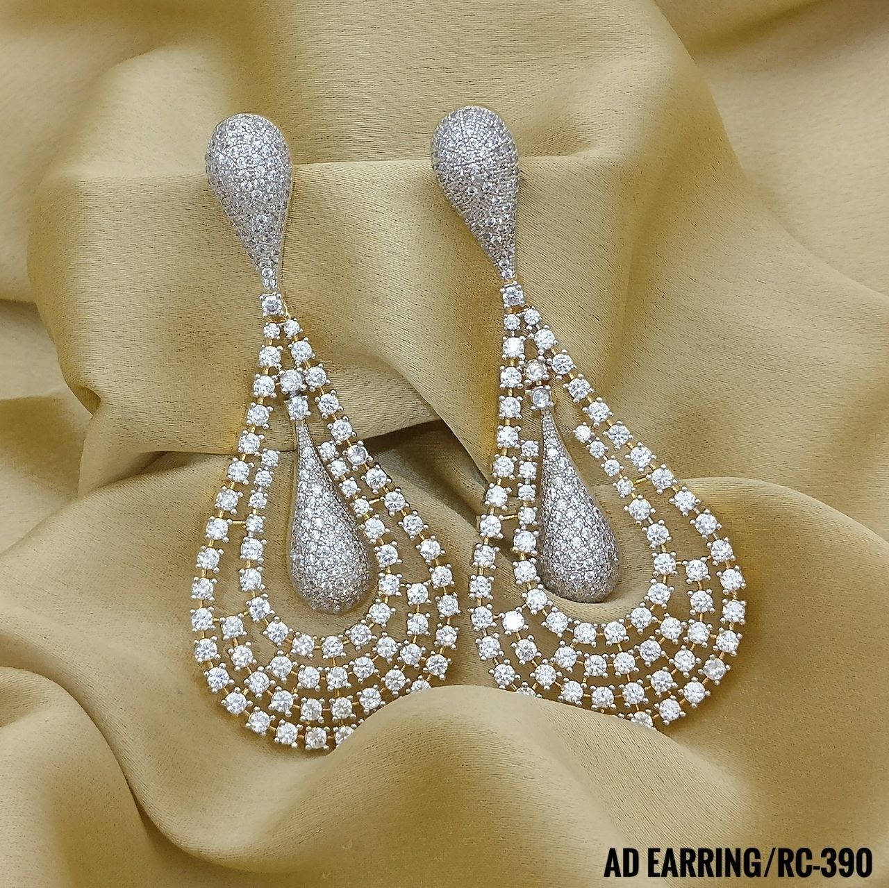 883d99028 American Diamond Party Earrings. Oval Stone Shape AD Earrings. Rama  Creations Manufacturer & Wholesalers of Artificial Designer Jewellery in  India.