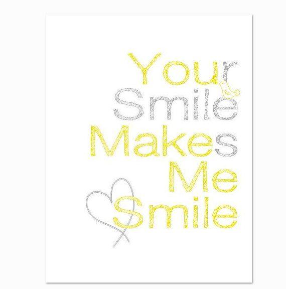 You Make Me Smile Love Print 8 X 10 Nursery Art By Breedingfancy Make Me Smile Happy Quotes I Smile