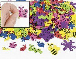 """500 Assorted Bug Shape Foam Self-Adhesive Craft Stickers by OTC. $9.34. Use on craft projects, notebooks and more!. 500 pcs. per unit. These 2"""" self-adhesive shapes come in ladybug, bee, worm, butterfly, firefly and snail designs.. You'll get stuck on these friendly-faced foam critters! These 2"""" self-adhesive shapes come in ladybug, bee, worm, butterfly, firefly and snail designs. These are just what you need to help you scrapbook your """"bugs"""" life! Use on craft ..."""
