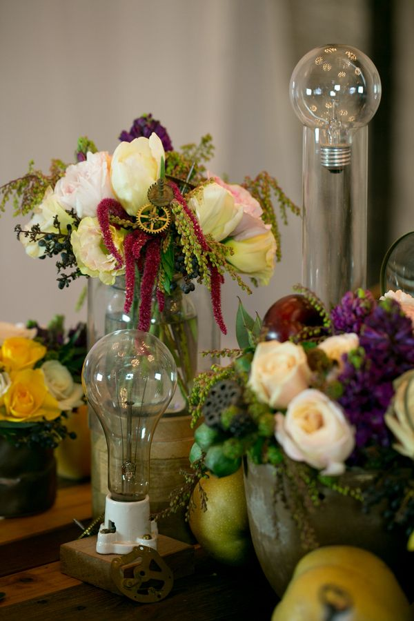 Edison Bulb And Floral Centerpieces