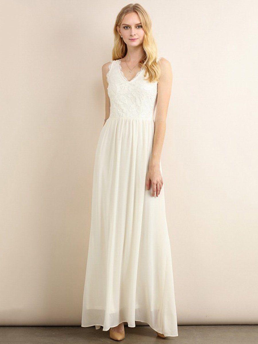 AdoreWe #StyleWe Maxi Dresses - Designer Aquarius Ivory V Neck ...