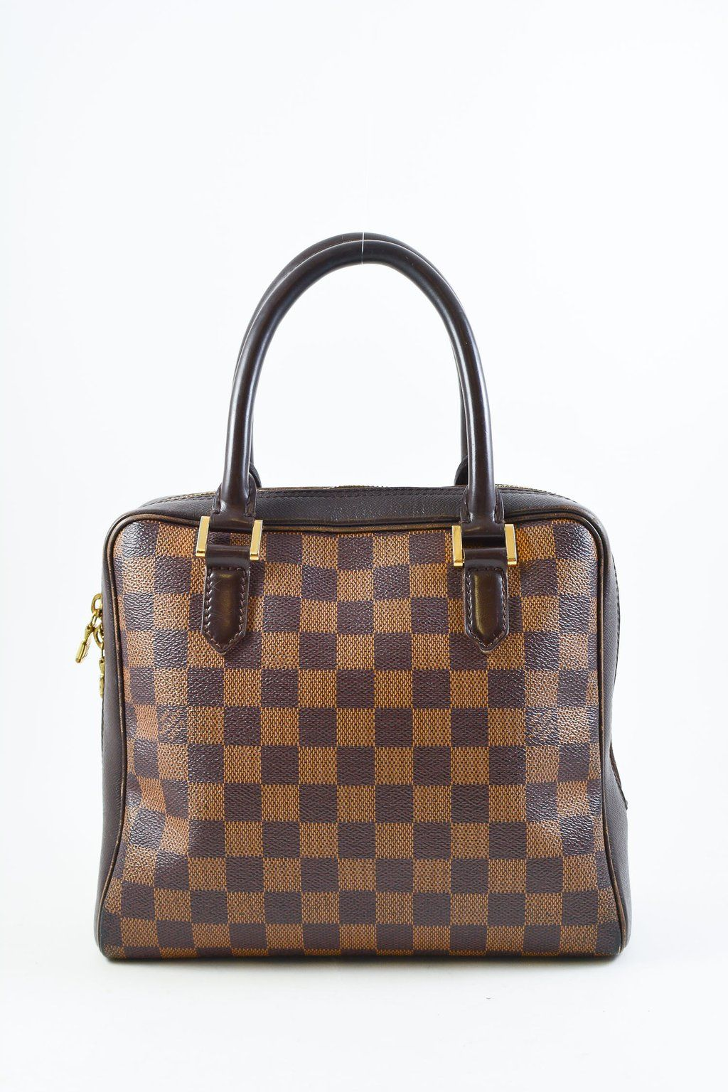 """d6d99314df Louis Vuitton Damier Ebene """"Triana"""" Top Handle Bag. Square shape with two  rolled"""