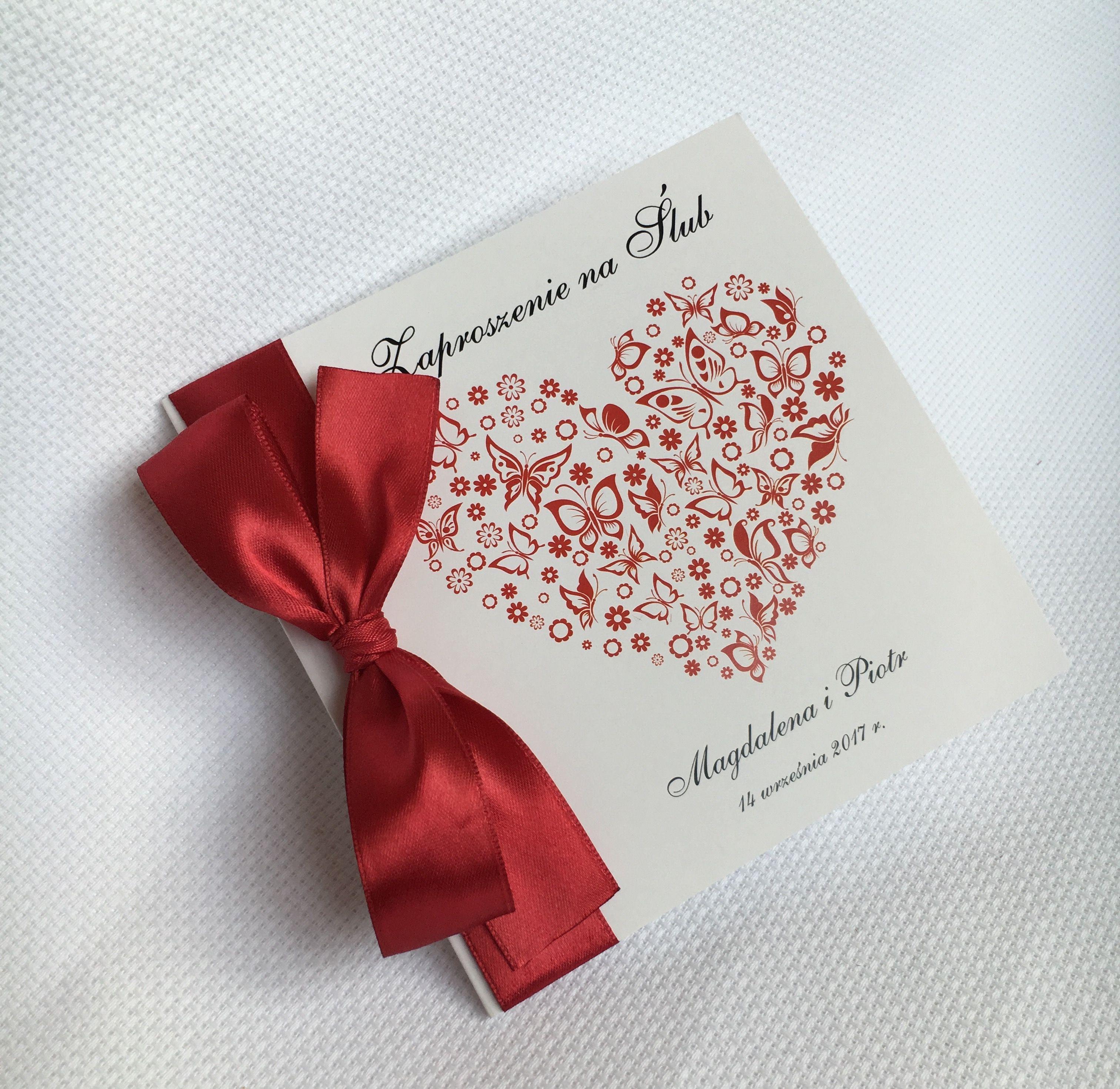 Zaproszenia Slubne Czerwone Serce Elegancka Czerwona Tasiemka Kolor Przewodni Czerwony Partes De Matrimonio Matrimonio