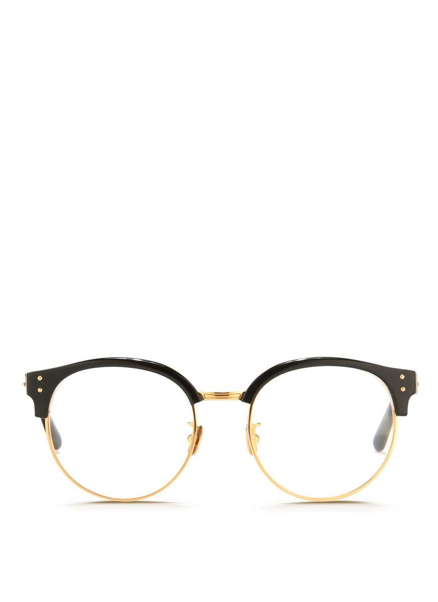 30d8b40086c Linda farrow 22k Gold Plated Rim Acetate Browline Optical Glasses in Black ( Metallic)