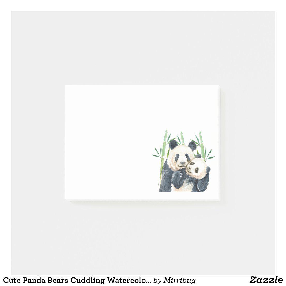 Cute Panda Bears Cuddling Watercolor Post-it Notes