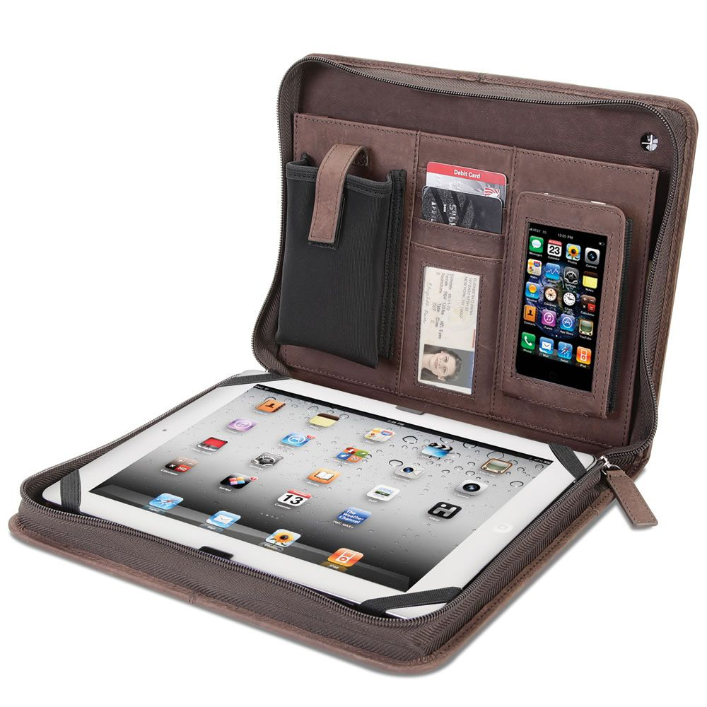The Kangaroo Leather iPad Portfolio - Hammacher Schlemmer - This is the zippered iPad portfolio made of kangaroo leather, which possesses 10X the tensile strength of cowhide.