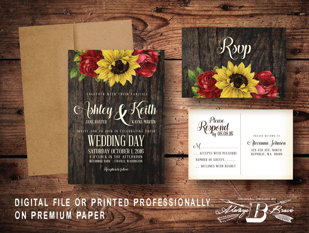 PERSONALISED WEDDING INVITATIONS Vintage Red Rose Postcard Design with Envelopes