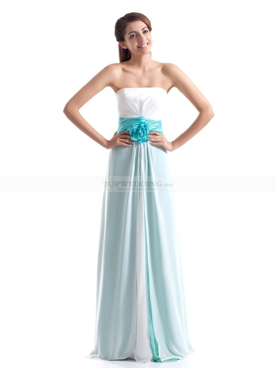 Two Toned Chiffon Sheath Long Bridesmaid Dress With Floral Waistband