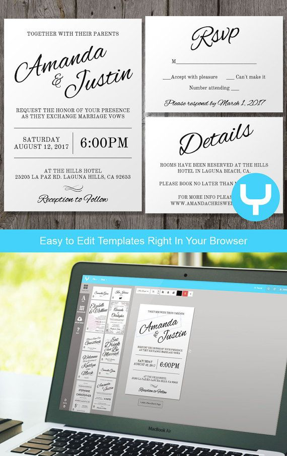 Modern Wedding Invitation Suite, Instant Download