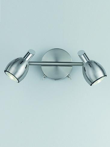 SPOT9002 Tivoli 2 Light Wall Spotlight In Satin Nickel Chrome Switched With X Toggle