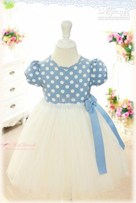 Baby kleid blau punkte