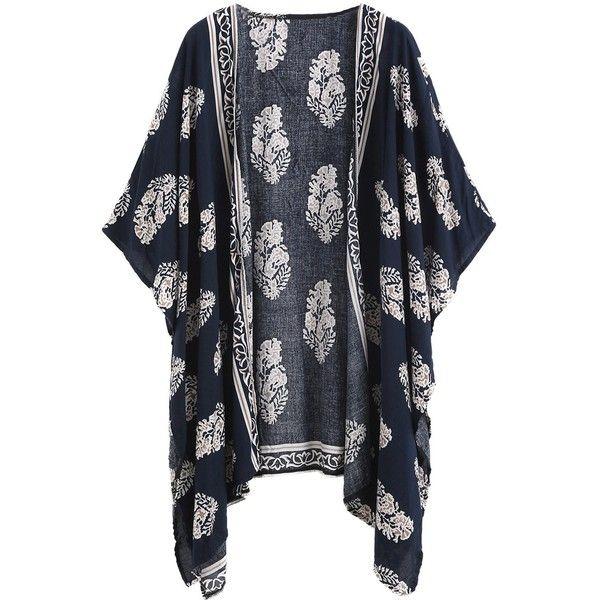 5bb9df5cc990b SweatyRocks Women Kimono Vintage Floral Beach Cover Up ($15) ❤ liked on  Polyvore featuring swimwear, cover-ups, floral print kimono, swim cover up  kimono, ...
