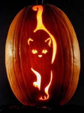 """""""Prowler"""" cat pumpkin. ^ award: http://www.masterpiecepumpkins.com/awards.html patterns: http://www.mass-imo.com/2010/10/pumpkin-carving-cats.html"""