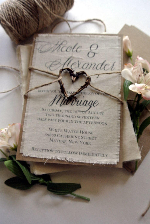 Rustic Wedding Invitation Boho Script Twine on Fabric Invitation ...