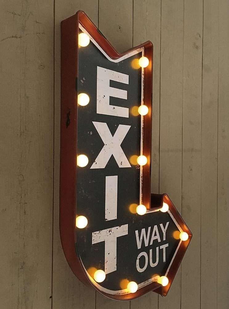 Wandleuchte Exit Way Out Led Beleuchtung Wegweiser Leuchtdeko