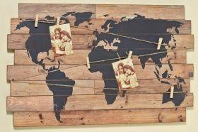 Nostalgie Wandbild   Weltkarte   Deko Wandobjekt Holz Schild Weltatlas M.  Klammern | Wohnideen,