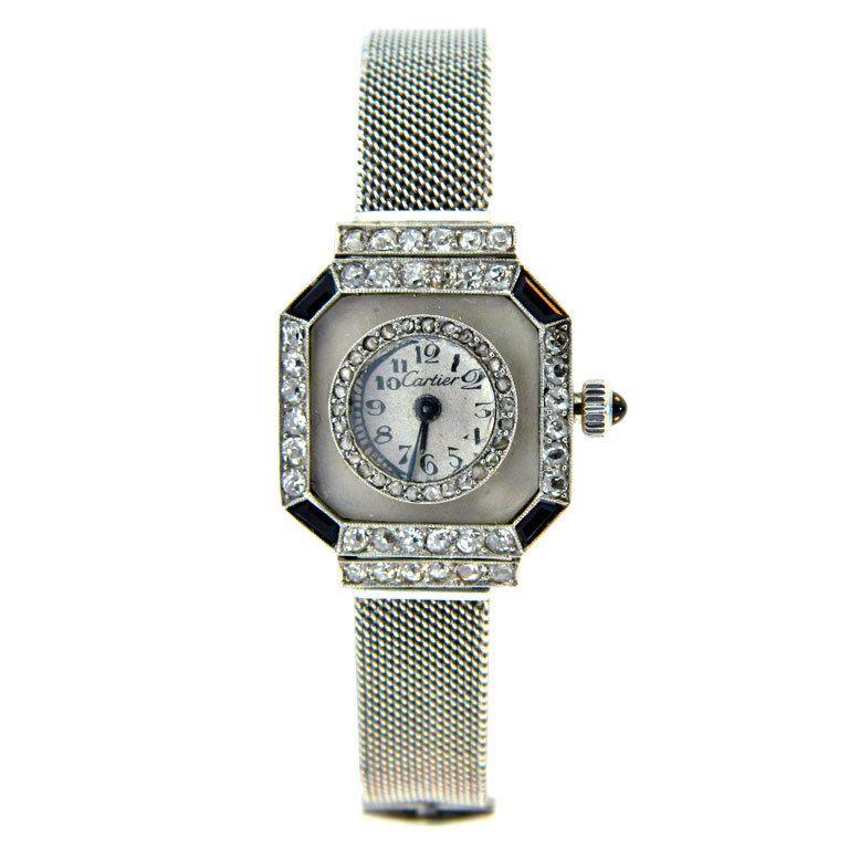Cartier art deco platinum diamond onyx and rock crystal