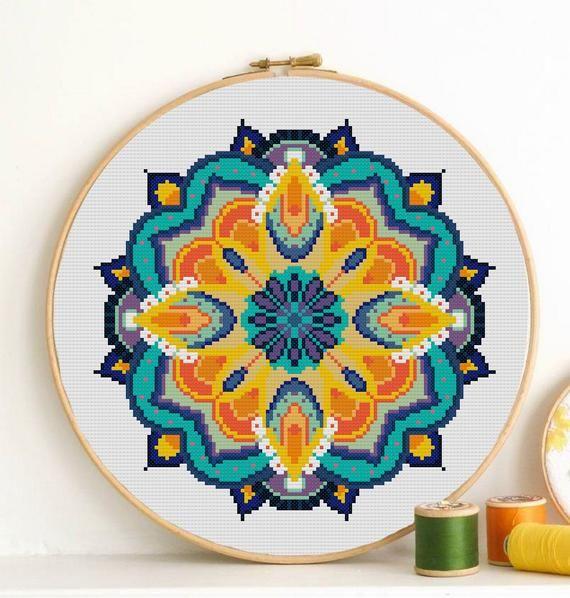 Mandala Cross stitch pattern Modern tapestry abstract geometric inspirational funny embroidery hoop art yoga wall art stich