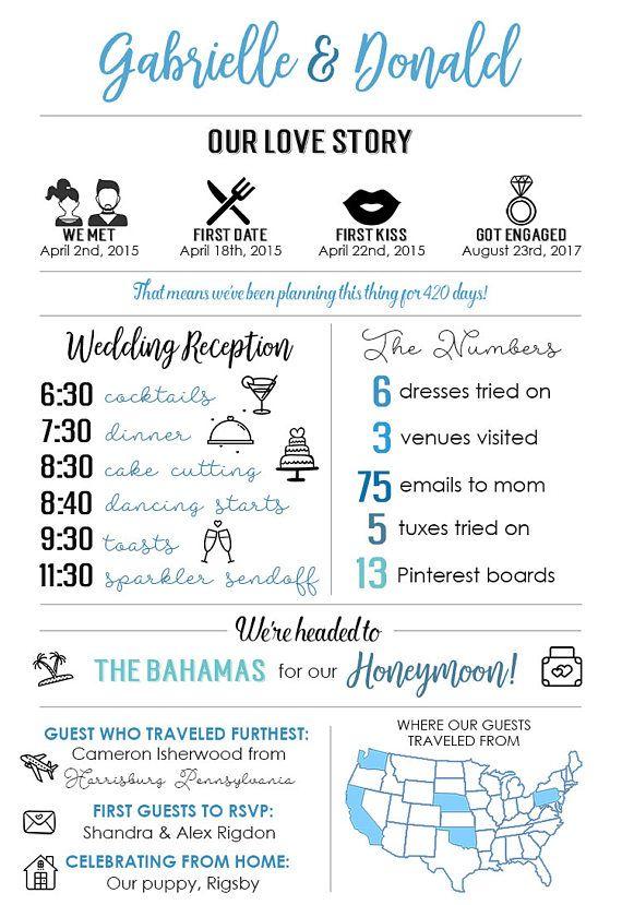 Printable Infographic Wedding Program Unique Wedding Program Etsy Wedding Infographic Unique Wedding Programs Wedding Programs